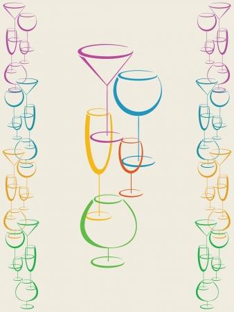 likeur: Achtergrond met kleurrijke glazen drank Stock Illustratie