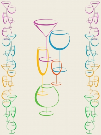 Background with colorful glasses of drink  Vector