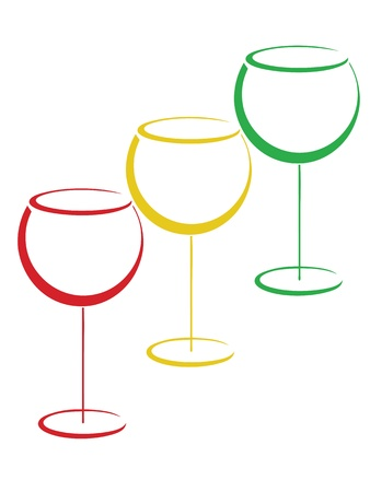 abstract liquor: Color wineglasses