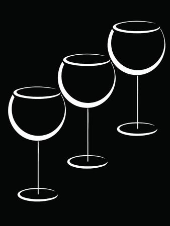 martini glass: Black and white wineglasses  Illustration