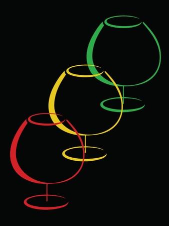 Color glasses of cognac  Vector
