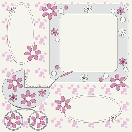 Template for baby photo album or greetings cars  Vector