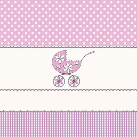 birth announcement: Babies pink background