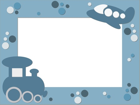 Blue children photo frame with plane and train  Vector