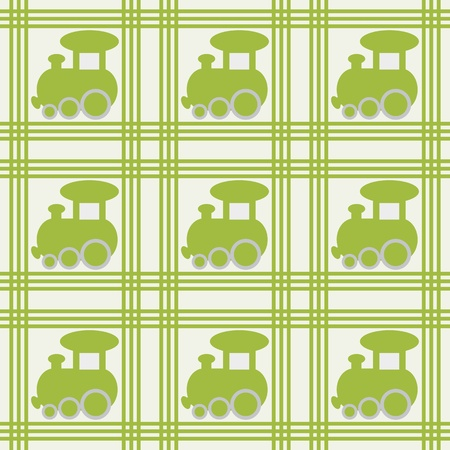 Children seamless background with green train  Vector