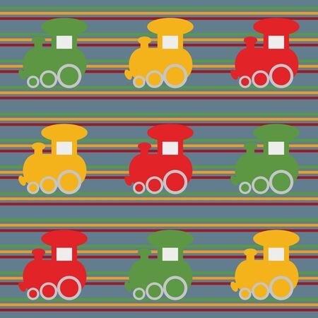 Color children seamless background with train  Vector