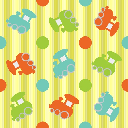 Seamless children background color trains  Vector