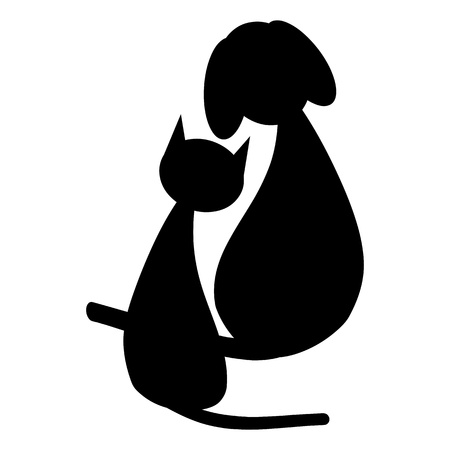 dog silhouette: Black dog and cat  Illustration