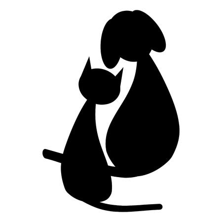 Perro negro y el gato Foto de archivo - 13739684