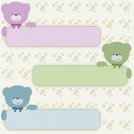 Color bear teddy with vertical banners  Vector