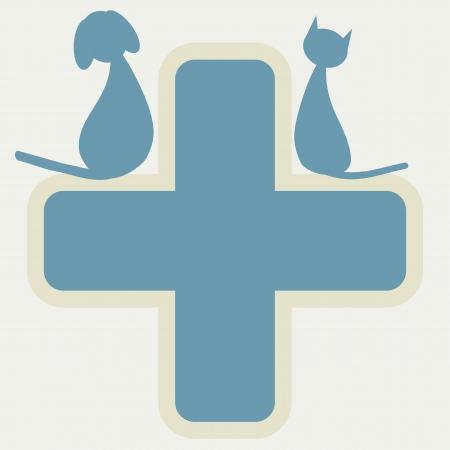 Señal de Veterinaria con el perro y el gato