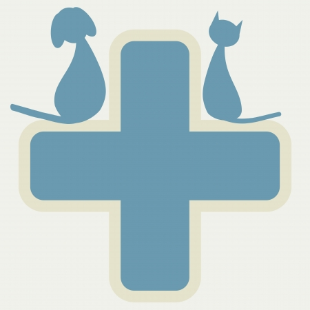 veterinary symbol: Veterinary sign with dog and cat