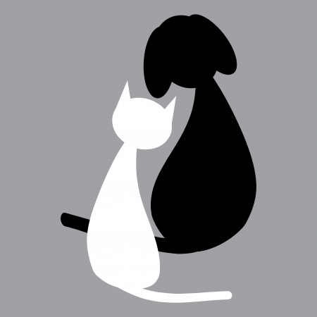 black cat silhouette: White cat and black dog Illustration