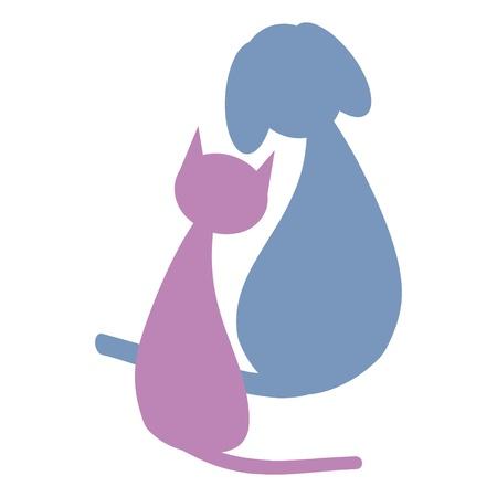 silueta gato: Perro y gato Vectores