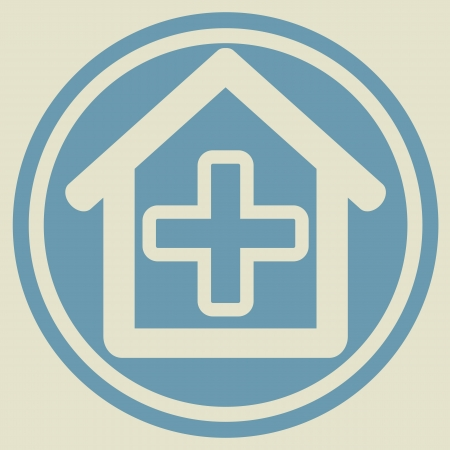 Veterinary sign house with cross  Vector