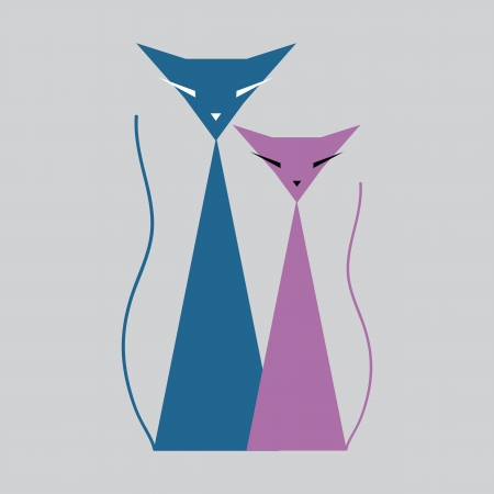 Two color cats Vector