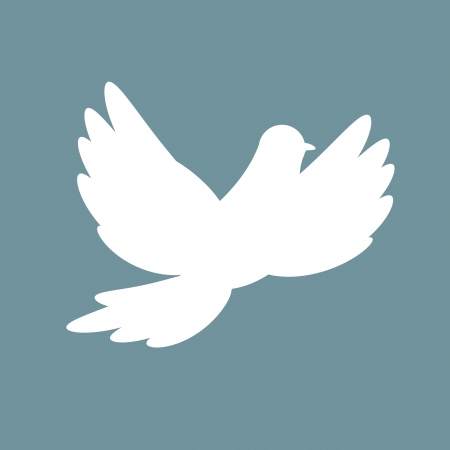 banner of peace: Silhouette of white dove