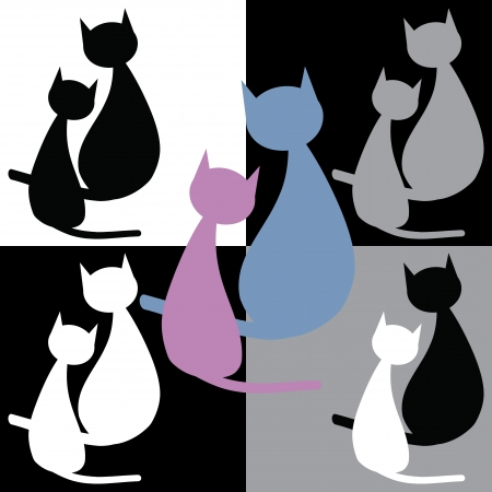 Collection of two cats   Vector