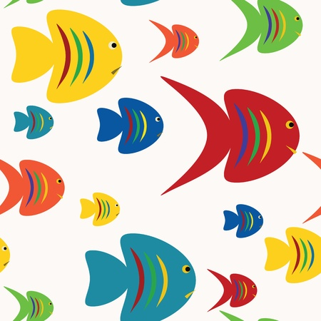 Colorful seamless fishes background  Illustration