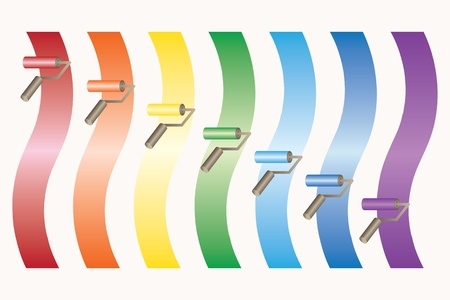 Roller brushes with colors pains of rainbow  Vector