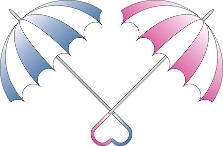 couple in rain: Duet of color umbrellas