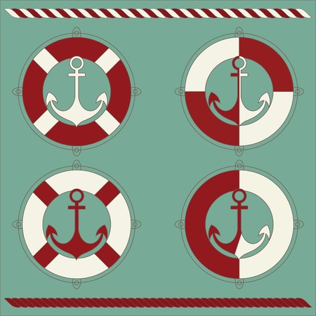 Anchor and lifebuoy Vector