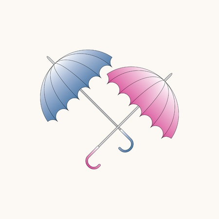 duet: Blue and pink umbrellas