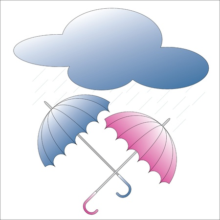 duet: Color umbrellas and rain cloud Illustration