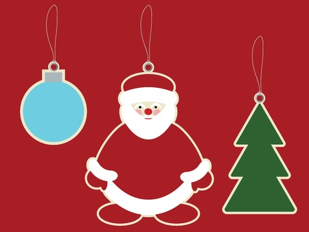 Santa claus, christmas ball and christmas tree price tags  Vector