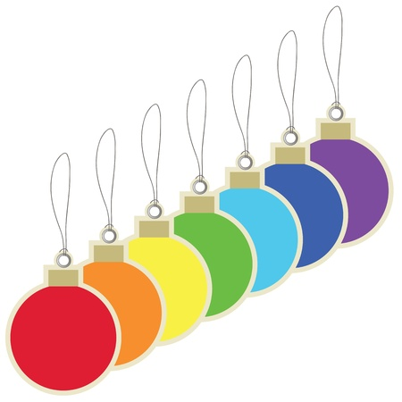 Colorful christmas balls price tag  Vector