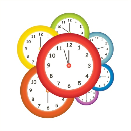 midnight hour: Colorful clocks  Illustration