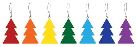 arcoiris caricatura: Coloridos �rboles de navidad etiquetas de precio