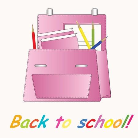 Pink school backpack Vector