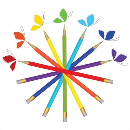 Colorful pencils and butterflies  Vector