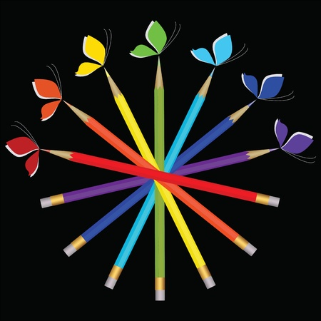 Pattern of color pencils and butterflies  Vector