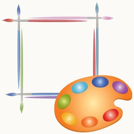descriptive color: Palette of paints and brushes