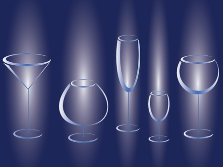 Set of glasses of alcohol drinks Vector