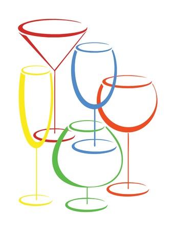 Juego de vidrios de colores de las bebidas alcohólicas