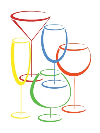Set of colorful glasses of alcohol drinks Vector