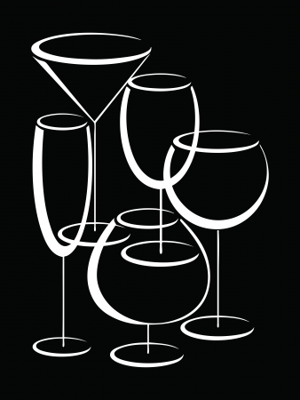 Set of  glasses of alcohol drinks