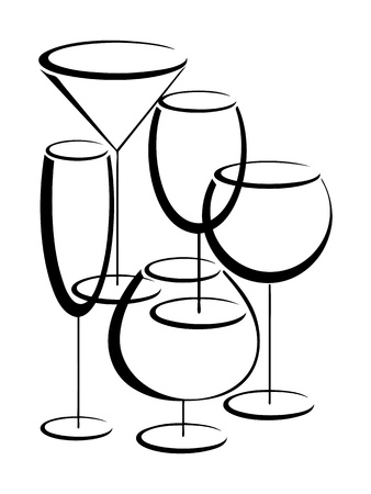 Set of glasses for alcohol drinks Vector