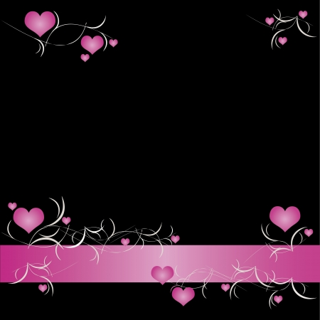 pink and black: Valentine background with hearts