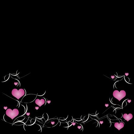 rosa negra: San Valent�n de fondo con corazones Vectores