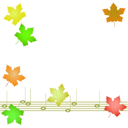 Autumn background with musical notes and leaves of maple