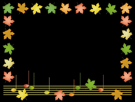 Frame from leaves of maple and musical notes  Vector