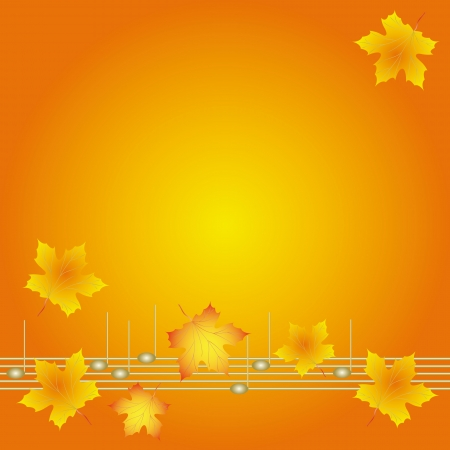 Autumn background with musical notes and leaves of maple Stock Vector - 15164528
