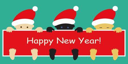 multirracial: Beb�s multirraciais em tampas de Papai Noel