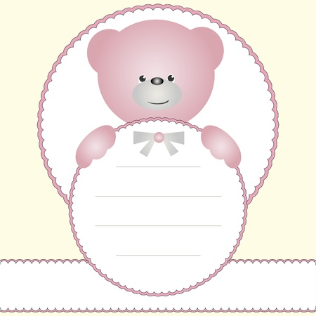 Girl name tag with blue teddy bear Vector