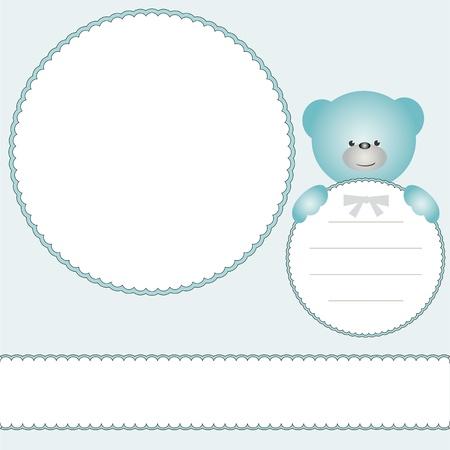 demography: Babies photo frame or invitation card with teddy bear