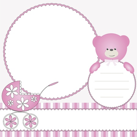 Pink babies background with photo frame Vector